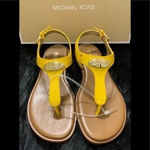 Michael Kors Plate Logo Yellow Thong Sandals
